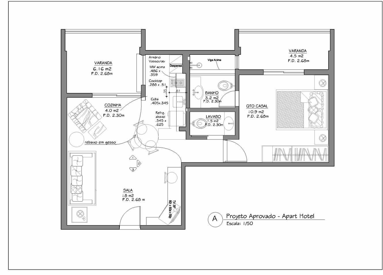 Proposta de integração da cozinha com a sala e divisão do banheiro  #4A4A4A 1330 955